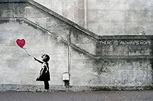 "Banksy Balloon Girl ""There is always hope"" XXL wall paper Wall decoration by Great Art 82.7 Inch x 55 Inch"