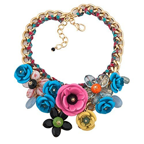 LovelyCharms Colorful Flower Floral Statement Necklace Chunky Pendant