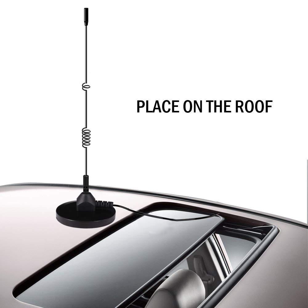 Verbesserte DAB Antenne,Esuper Universal DAB Antenne Auto DAB Antenne mit MCX Anschluss Leistungsstarker Magnetfu/ß+3M-Kabel f/ür Digitalen DAB Autoradio Adapter Anzug zur Installation von Innen Au/ßen