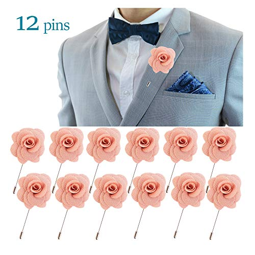 JLIKA Lapel Flower Pin Rose for Wedding Boutonniere Stick (Set of 12 PINS) (Dusty Pink)
