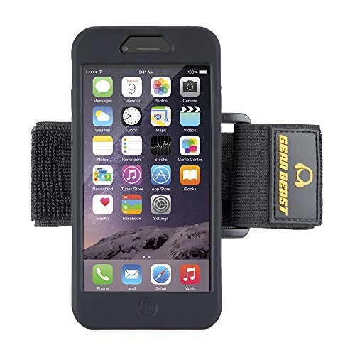 Gear Beast Silicone Sport Gym Running Armband For Apple iPhone 6s and iPhone 6, Lightweight and Adjustable, Includes Two Flexible Armband Straps Plus FREE Screen Protector