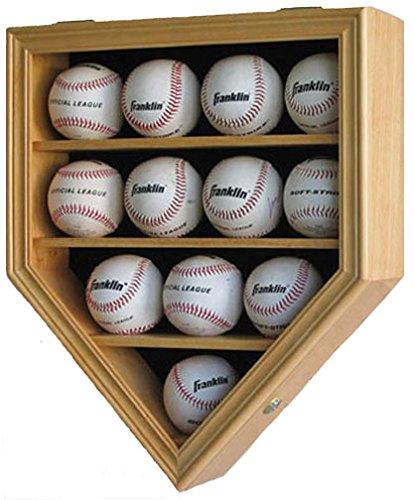 12 Baseball Display Case Wall Cabinet Shadow Box, UV Protection Door, B12(UV) (Oak Finish)