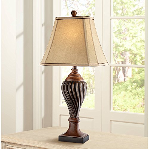 Bronze Urn Individual - Carved Two-Tone Brown Table Lamp