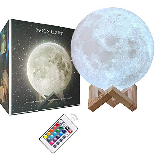 - Ricris Moon Lamp-Cool 16 Colors 3D Printed Moon Light Lamps, Remote Control Mood Lamp Home Decor Night Light with Wood Stand, Rechargeable Lunar Moon Soft Light Color Change Moonlight Lamps(5.9IN)