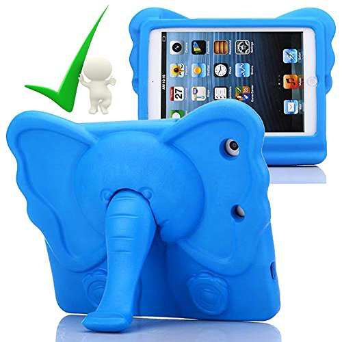 iPad Mini Kids Case, iPad Mini Elephant Cover Girls Friendly Light Weight EVA Foam Kid-Proof Drop-Proof Tablet Carrying Holder with Stand for Apple iPad Mini, Mini 2, Mini 3 and Mini 4 (Blue)