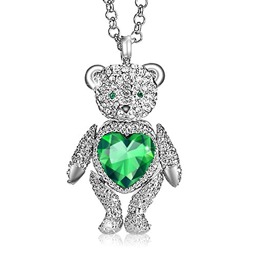 (Necklace, ♥Valentine's Day Gift♥ with Exquisite Package logybear Made with Czech diamonds, Cute Bear Limb-Rotating Design Women Pendant Jewelry, Brooch design (Green))