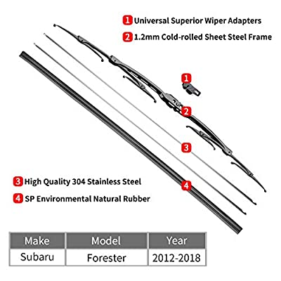 OTUAYAUTO Front and Rear Windshield Wiper Blade Kit - for Subaru Forester 2012-2020 Full Size: Automotive