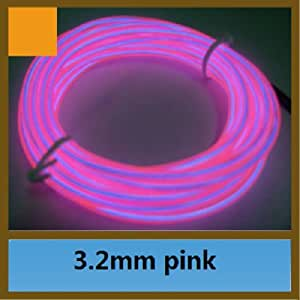 UDTEE 1PCS Fashionable And Beautiful Flexible EL Wire Rope Neon Light Glow Car Bar Dance Party Tube,Pink Color