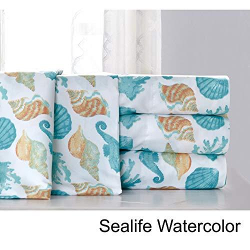 Hedaya Home Fashions Sealife Coastal Watercolor Sheet and Pillowcase Set, Full/Queen - Hedaya Home Fashions