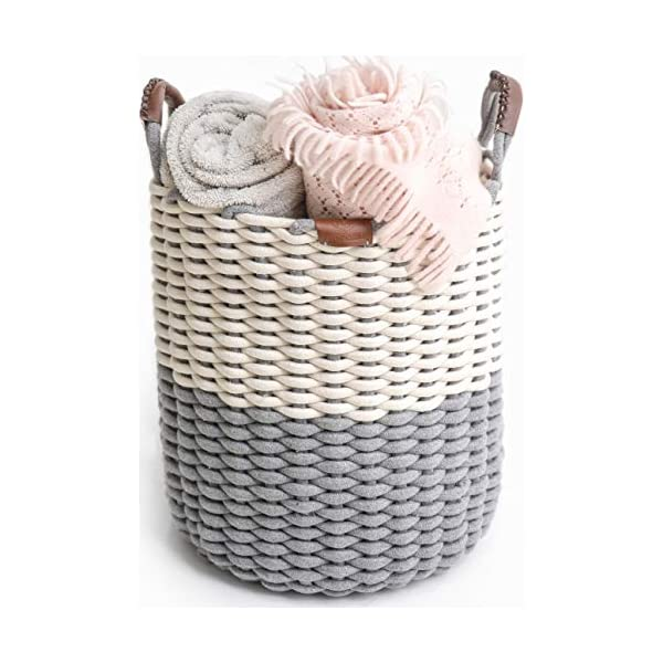 Northern Rey Cotton Rope Basket – XL Handmade Basket with Handle – Woven Basket for Kids Toys, Comforter, Blanket, Pillows, Throws, Laundry, Cushion, Hamper, Storage Bins, Chic Grey – 17″ x 14.7″