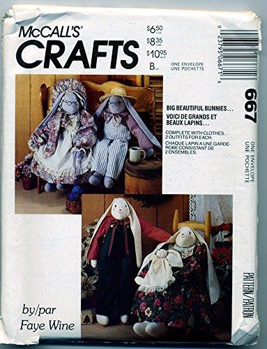 (McCall's Crafts Pattern # 667 Big Bunny Dolls and Wardrobe Faye Wine)