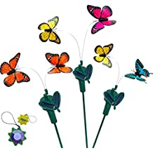 HQRP Set of 3 Twin Solar Powered Flying Fluttering Butterflies - Yellow Blue Pink Orange - for Garden Plants Flowers Yard Patio Landscape Decor + HQRP UV Meter