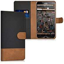 kwmobile Wallet case canvas cover for Asus ZenFone 2 - Flip case with card slot and stand in black brown