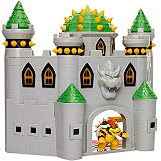 """Nintendo Bowser's Castle Super Mario Deluxe Bowser's Castle Playset with 2.5"""" Exclusive Articulated Bowser Action Figure, Interactive Play Set with Authentic In-Game Sounds"""