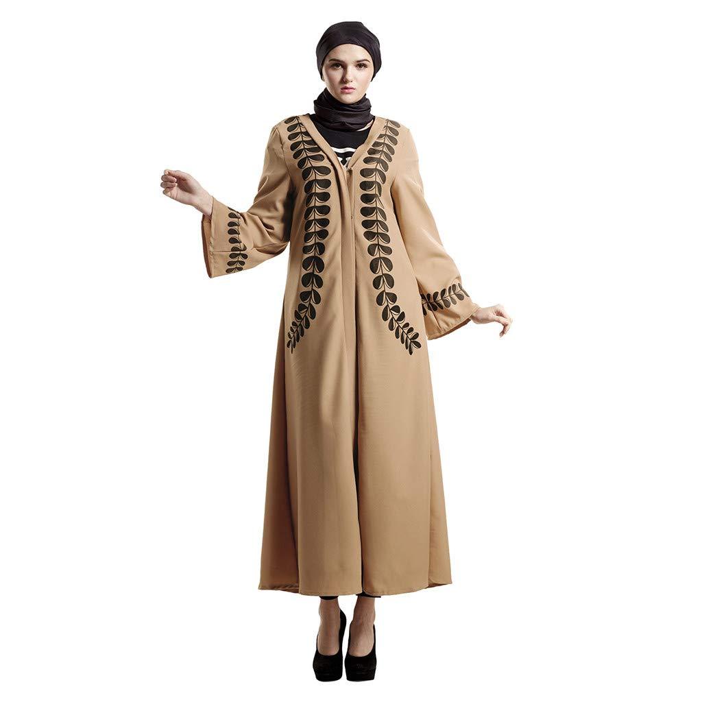 iZHH Muslim Islamic Printed Long Dress Women Elegant Long Sleeve Dress Abaya Long Robe Brown
