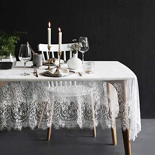 (Lahome White Lace Tablecloth - Rose Vintage Embroidered Lace Table Cover for Boho Wedding Banquet Rustic Tabletop Bridal Shower Baby Shower Birthday Party Decor (White, Rectangle - 60