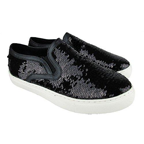 FGVIADANTE Scarpe Donna Paillettes Sneakers Nero XSXxrnW6U