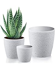 Worth Garden Resin Planter Sandstone Touch Set of 3, White Round Flower Pots with Drain Hole Planter for Plants Indoor Outdoor Garden Patio Deck Elegant Light & Unbreakable,Large & Medium & Small