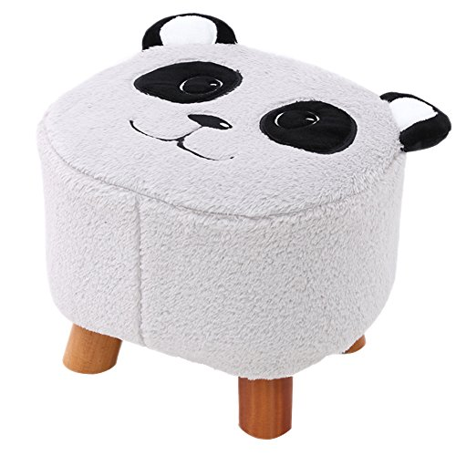 HM&DX Upholstered Footstool,Flannel Tufted Panda Oval Coffee Table Foot Rest Shoe Change Stool for Kids -Grey