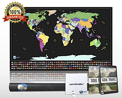 Scratch Off Travel Map of the World - XL Size Poster, US States Outlined, 34x21, Premium Paper, Gloss Finish, Scratcher and Swiper Cloth Included