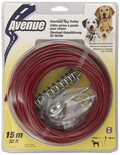 Dogit Tether Overhead Dog Trolley, 50-Feet, Red - Trolley 50ft