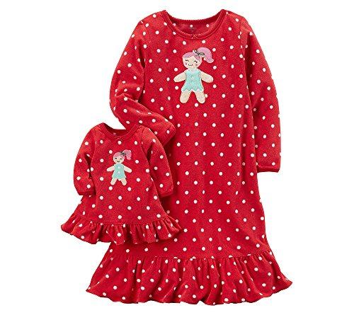 Carter's Girls' 8-14 Fleece Doll Gown Set M (Carters Gown Set)