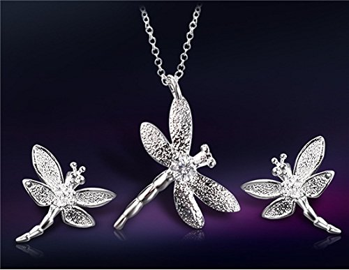 Dragonfly Silver Plated (Dragonfly Design Silver Plated Necklace & Earring Set (Silver) M. by Preciastore)