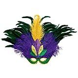 Amscan Mardi Gras Feather & Sequin Deluxe Masquerade Mask, Multi Color, 17.25 x 23