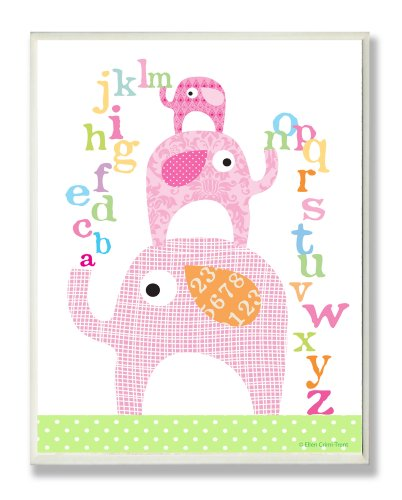 (The Kids Room by Stupell Pink Elephants with Alphabet Rectangle Wall Plaque, 11 x 0.5 x 15, Proudly Made in USA)