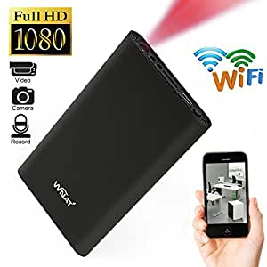 WIFI 1080P HD DVR Spy Hidden IP Camera Mobile Power Bank Wireless Motion Detection Video Recorder P2P Nanny Cam Black
