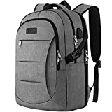 Travel Laptop Backpack, TSA Anti-Theft Business Laptop Backpack Bag with USB Charging Port for Womens Mens, Durable Water Resistant 15.6 Inch College School Computer Rucksack Work Backpack - Grey