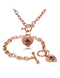 Stainless Steel 1st Gen Charmander Charmeleon Charizard Pokémon Heart Charm Bracelet & Necklace