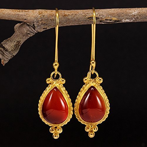 Drop Granulated (Natural Agate Dangle Earrings 925 Solid Sterling Silver 24K Yellow Gold Vermeil Handcrafted Ancient Roman Art Drop Carnelian Gemstone Granulated Hook Earrings)