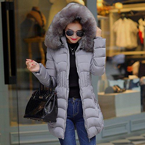 Fantaisiez Femmes Femme Long À Gris1 Hiver Coat Pardessus Chaud Manteaux Poche Veste Coton Parka Slim Manteau Capuche De Jacket Col Épais Fourrure rwq4r