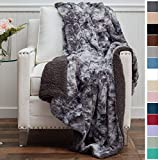 faux fur throw  Luxury Faux Fur with Sherpa Reversible Throw Blanket, Super Soft, Large Wrinkle Resistant Blankets, Warm Hypoallergenic Washable Couch or Bed Throws, 65x50, Gray Tie Dye