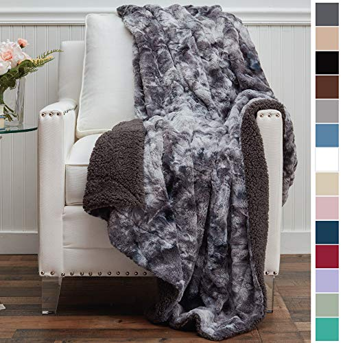 The Connecticut Home Company Luxury Faux Fur with Sherpa Reversible Throw Blanket, Super Soft, Large Wrinkle Resistant Blankets, Warm Hypoallergenic Washable Couch or Bed Throws, 65x50, Gray Tie Dye (Throws Real Fur)