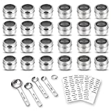 24 Magnetic Spice Tins, 117 PVC Spice Labels, 4 Stainless Steel Measuring Spoons and Recipes E-book by Sanquility. Round Storage Spice Jars Set of 24, Clear Top Lid with Sift or Pour