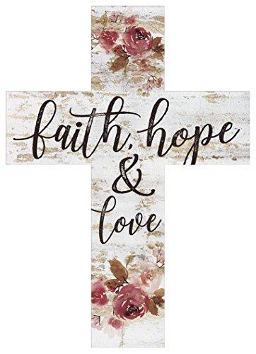 P. Graham Dunn Faith Hope & Love Floral Whitewash 5 x 7 Solid Pine Wood Wall Hanging ()
