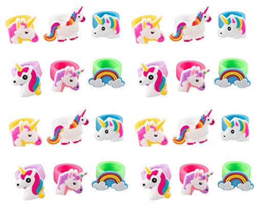 Rainbow Unicorn Toy Rings - 24-Pack Silicone Rubber Play Rings for Girls, Assorted Unicorn Themed Party Supplies Favors Accessories, Ideal for Fantasy Parties, Magical Birthdays, Game Prizes -