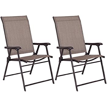 Giantex Set Of 2 Patio Folding Sling Chairs Furniture Camping Deck Garden  Pool Beach