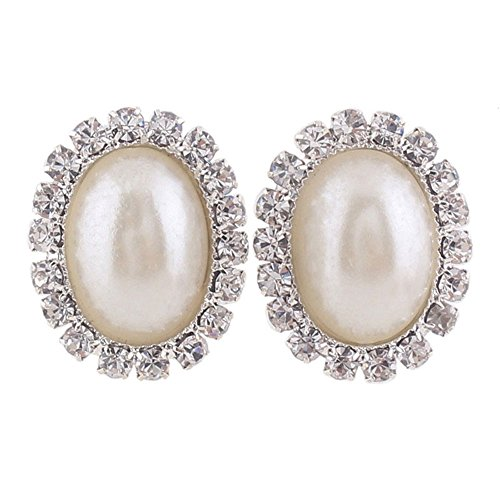 mulated Pearl Shape Clip on Earrings for Women Charm No Hole Ear Clip (pearl) (Simulated Pearl Rhinestone Earrings)