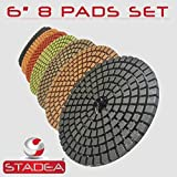 STADEA Premium Grade Wet 6'' Diamond Polishing Pads 8 Pcs Set For GRANITE MARBLE STONE Polish