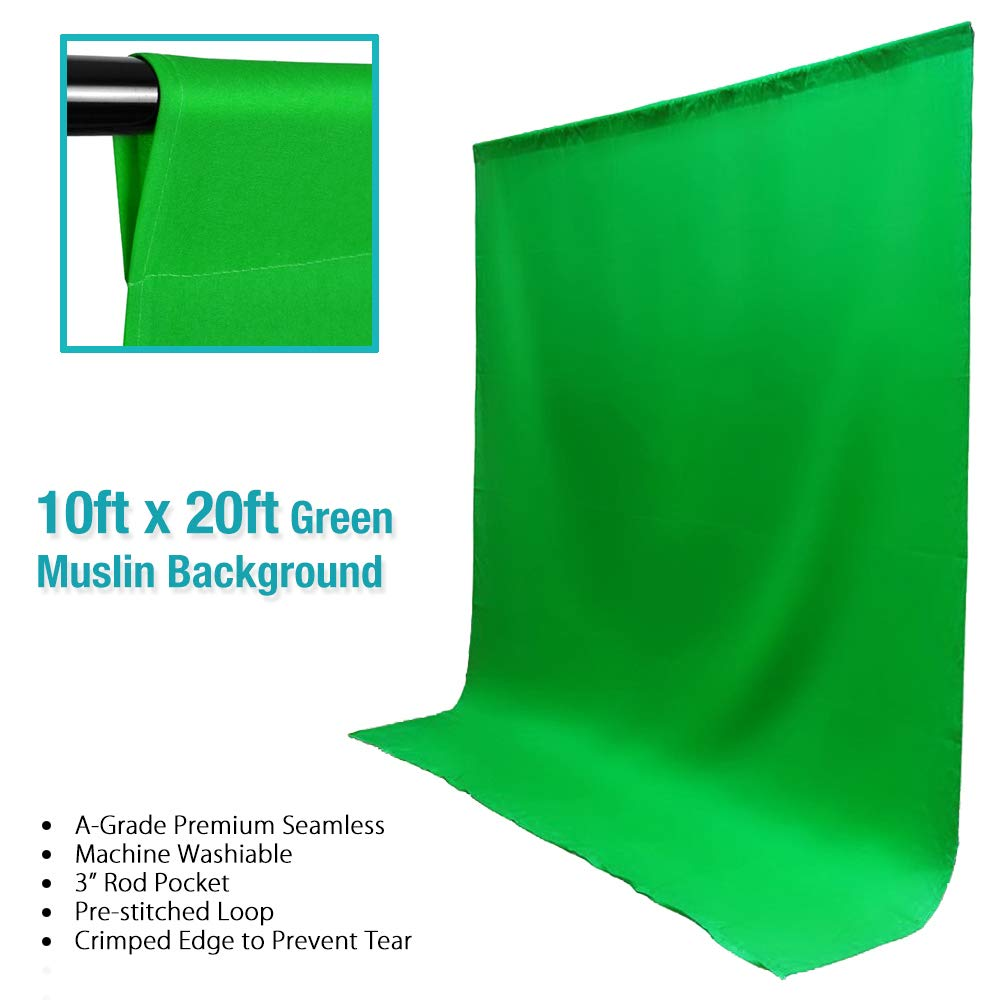10 x 20 ft. Green Muslin Backdrop, Photography Background Screen, Green Chromakey, LNAPL20G