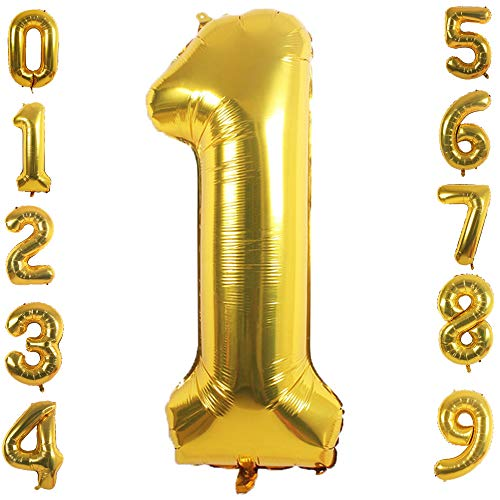 Giant Balloon Numbers (PartyMart Gold Foil Balloons Number 1, 40)