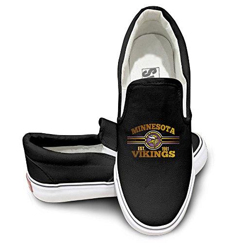 [Amone Minnesota Viking Sportstyle Unisex Flat Canvas Shoes Sneaker Black 39] (Stefon Costume)