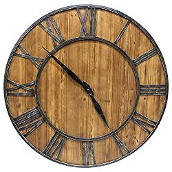 YIDIE 30 inch Wood Large Wall Clock Silent Non-Ticking Roman Numerals Round Decorative Clock for Farmhouse/Living Room