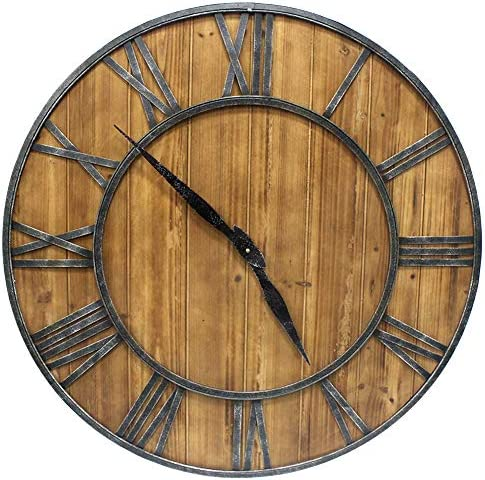 YIDIE 24 inch Wooden Large Wall Clock Silent Non-Ticking Arabic Numerals Round Decorative Clock for Home Living Room
