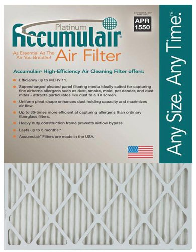 "Accumulair Platinum 1"" Filter , 10.0"" L x 30.0"" W x 1.0"" H,"