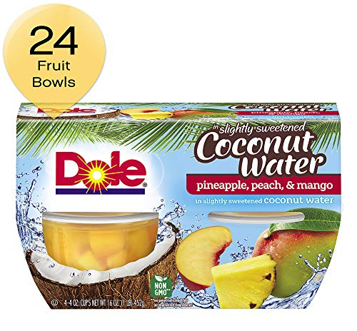 - Dole Fruit Bowls Pineapple Peach Mango in Slightly Sweetened Coconut Water, 4 Cups, Pack of 6