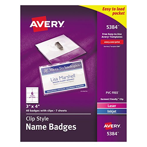 - Avery Top-Loading Garment-Friendly Clip Style Name Badges, 3 x 4, Box of 40 (5384)